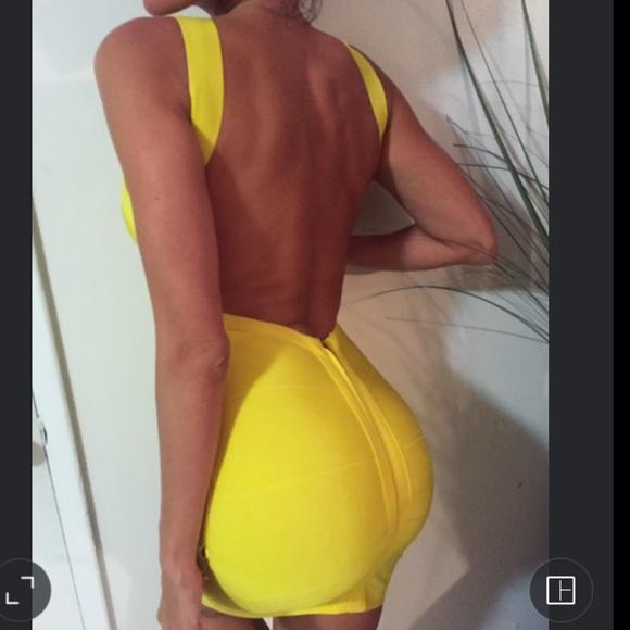 Yellow bandage dress backless
