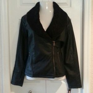 B. Sweet Jackets & Blazers - Vegan Leather w/ knit cowl moto jacket 2X