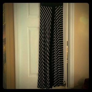 NWOT never worn black and tan stripe maxi skirt