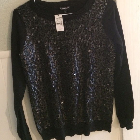 81% off Express Sweaters - Express black sequin front sweater ...