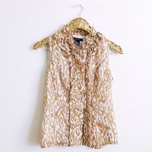 Gold Ruffle Animal Print Top