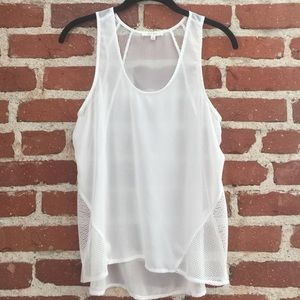 HYPR White Tank with Mesh Detail