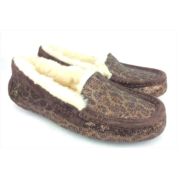 759398bb0ed UGG Ansley Glitter Bronze Gold Moccasins Slippers