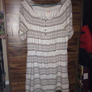 Cute Romper Style Dress brown/cream Size M