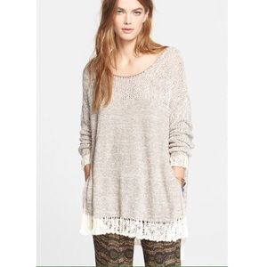 FREE PEOPLE Hand Knit Crochet Sweater