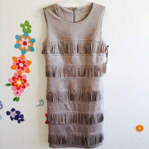 CK Faux Suede Fringe Dress Size 6