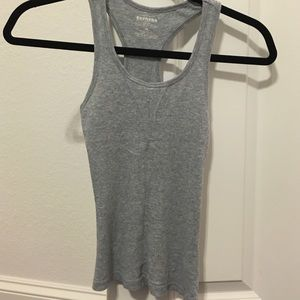 Express gray ribbed racetrack tank