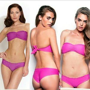 New maya swimwear ruffle bandeau bikini top orchid