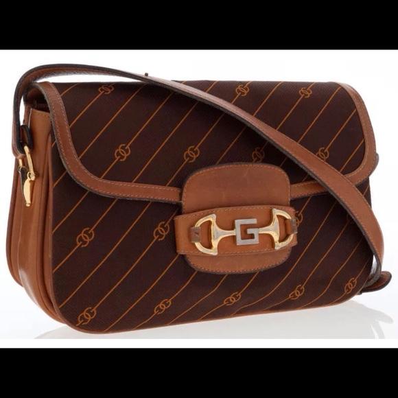 2d7b67010eae Gucci Handbags - Vintage Gucci Brown Canvas & Leather Bag