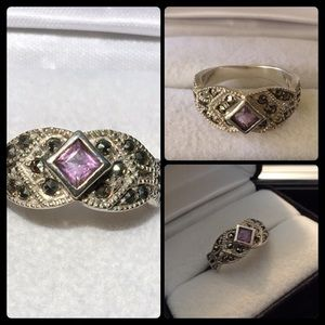Jewelry - 💥FIRM💥Purple Amethyst & Marcasite Ring