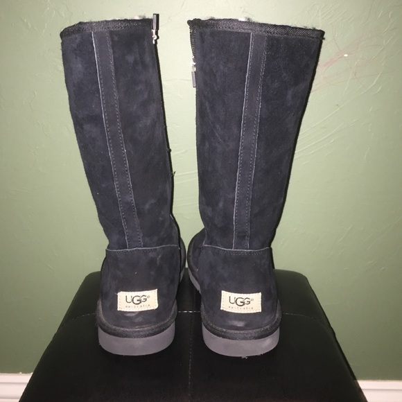 Tall Black Ugg boots with side zipper