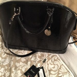 Black Epi Patent Leather Alma Style Bag By Fiore