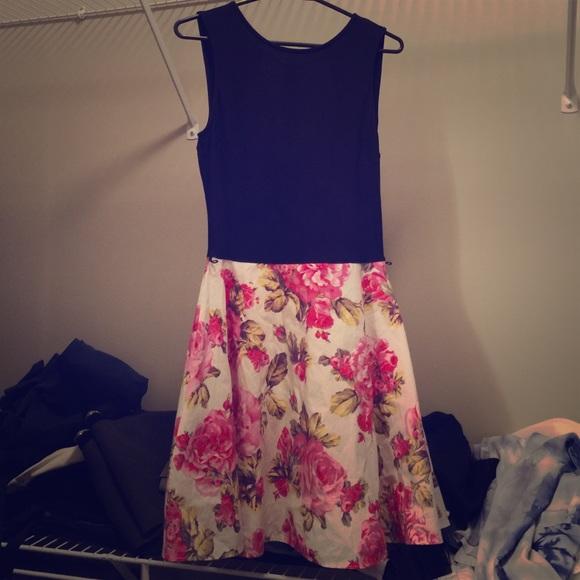 9f0cce152 Dresses | Moving Sale Black Top Floral Skirt Dress Xs 0 | Poshmark