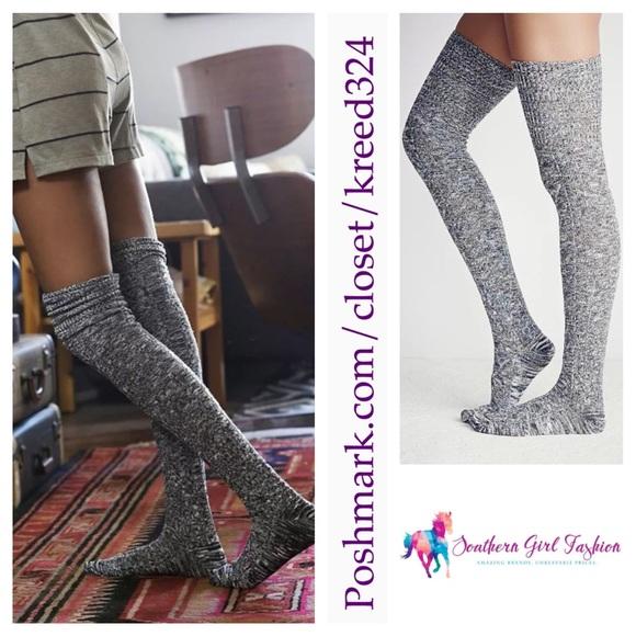 1c5c6733c02 FREE PEOPLE Socks Marled Rib Thigh High Tall Long