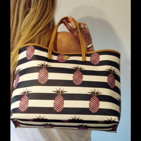 90f30aa690d New Tory Burch pineapple square large tote bag