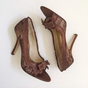 Shoes - Brown Beige Lace and Ribbon Open Toe Evening Pumps