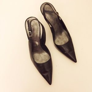 Shoes - Black Pointed Faux Leather Sling Back Kitten Heels