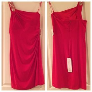 """New """"Cache"""" Red off the Shoulder Dress sz 14 """