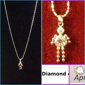 APRIL DIAMOND SWAROVSKI CRYSTAL 925 SS NECKLACE
