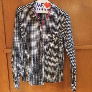 Nexx Tops - Nexx navy and white gingham wrinkle blouse.