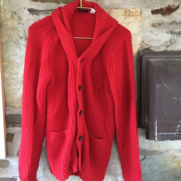 BDG red chunky knit cowl neck two pocket cardigan