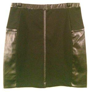 Black Skirt with Vegan Leather Side Panels