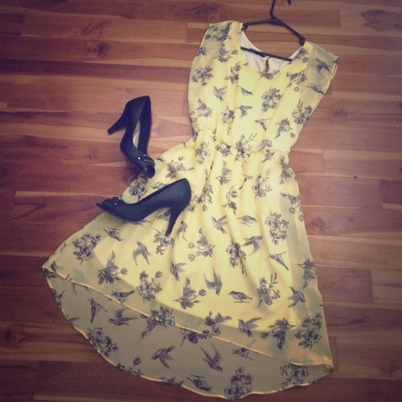 Maurices dresses yellow dress with birds and flowers poshmark yellow dress with birds and flowers mightylinksfo