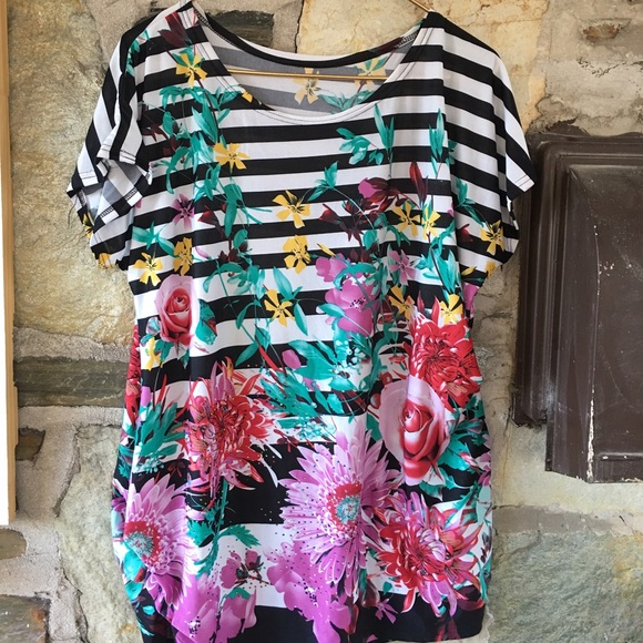 striped black and white floral + sequin tunic