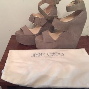 Jimmy Choo Leora Nubuck Wedge Sandals