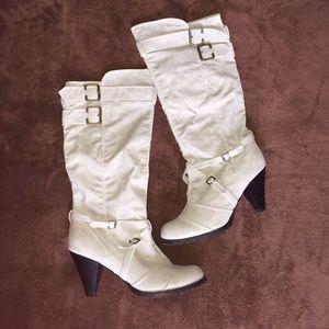 Light grey mid calf boots