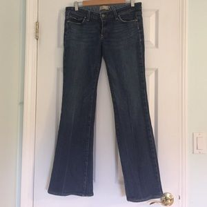 Paige, Size 30, medium blue, boot leg jeans,