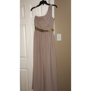 Long pink dress with gold sequined belt