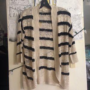 Striped see-through cardigan