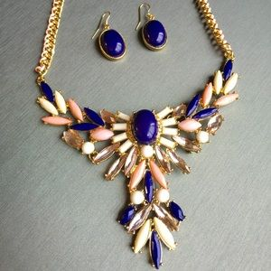 Pretty pink & navy blue crystal statement necklace