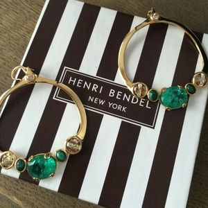 Henri Bendel Jewelry - Henri Bendel Jeweled Hoop Earrings
