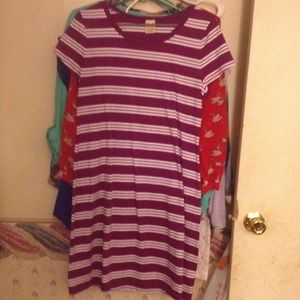 Purple & white striped dress.
