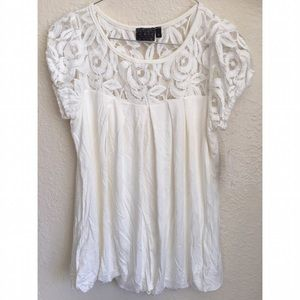 McQ Alexander McQueen Tops - White blouse w/lace Top