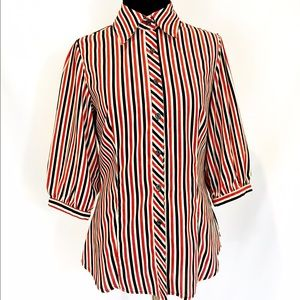 Red White and Blue Striped Blouse