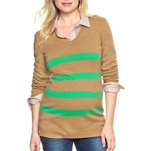 NWT Gap Maternity Tan Stripe Sweater XS