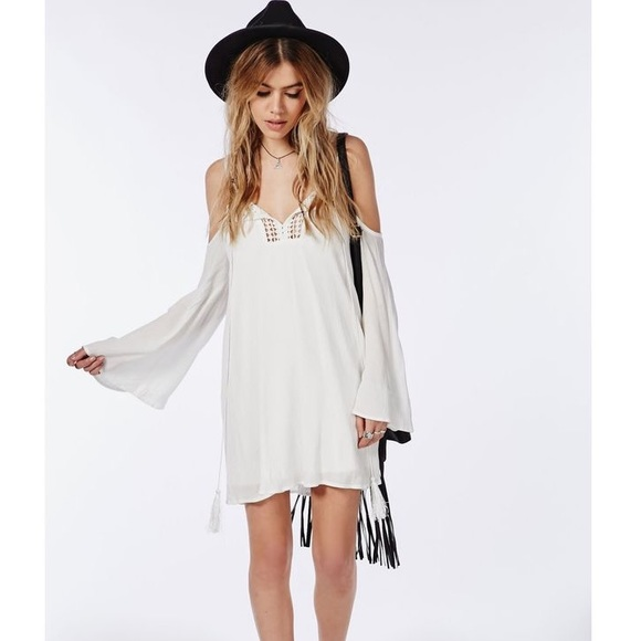 56ff8ea875cf NWT Missguided Boho Off Shoulder White Flowy Dress