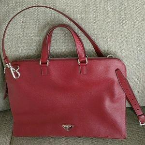 prada brown leather handbag - 32% off prada Handbags - Prada Laptop Messenger Red Saffiano ...