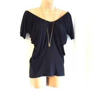 BLACK OFF SHOULDER DRAPED TOP