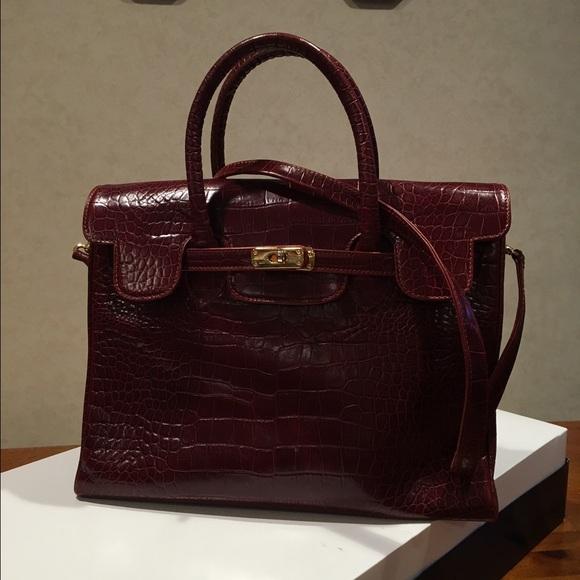9e5a663b3f7f Fermoda Handbags - Birkin style Croc embossed Mahogany Leather Bag