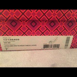 e9e2c0a32bc15 Tory Burch Shoes - Tory Burch leticia open toe wedge size 7 tan w box