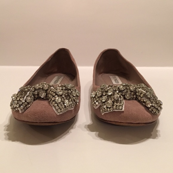 Steve Madden Shoes - Steve Madden Nude Rhinestone Bow Flats Size 6.5