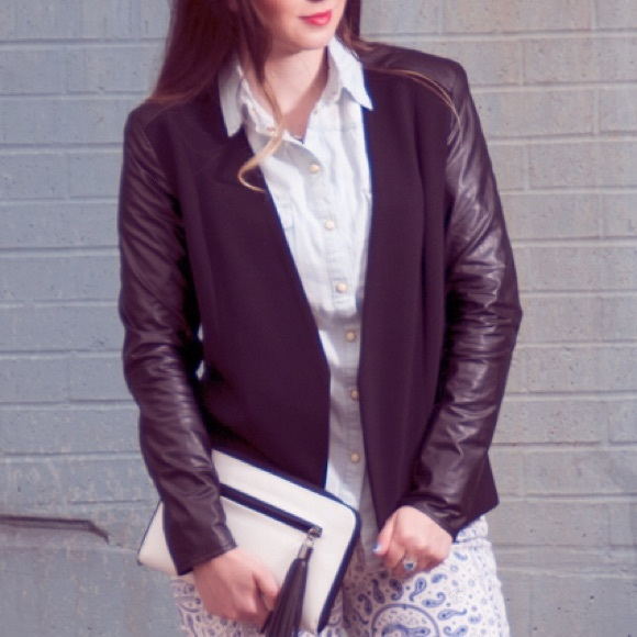 H&M Jackets & Blazers - H&M Black Ponte Blazer w Faux Leather Sleeves