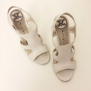 Shoes - White Open Toe Wedge Heels with Tan Details