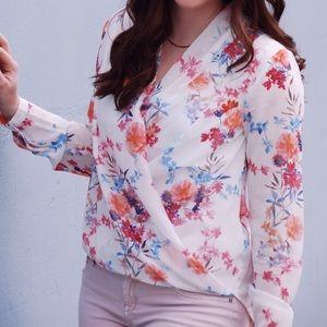 H&M Floral Wrap Top Size 6