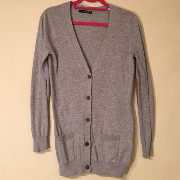Primark Sweaters - Long Gray Cardigan with Faux Suede Elbow Patches