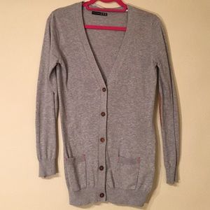 Long Gray Cardigan with Faux Suede Elbow Patches